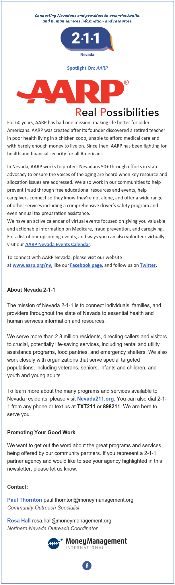 Nevada 211 October Newsletter Honoring AARP